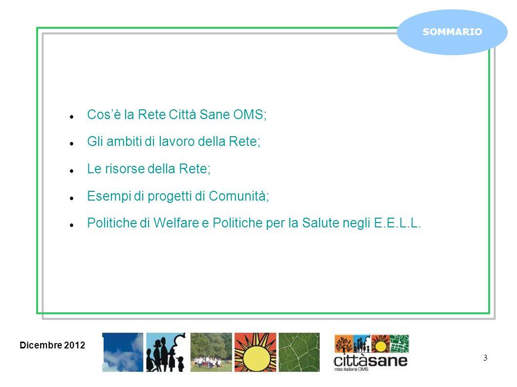 3 Cosè la Rete Città Sane OMS; Gli ambiti di lavoro della Rete; Le risorse della Rete; Esempi di progetti di Comunità; Politiche di Welfare e Politiche per la Salute negli E.E.L.L.