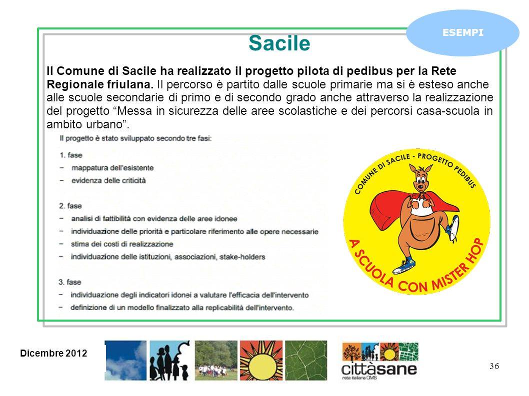 36 ESEMPI Il Comune di Sacile ha realizzato il progetto pilota di pedibus per la Rete Regionale friulana. Il percorso è partito dalle scuole primarie
