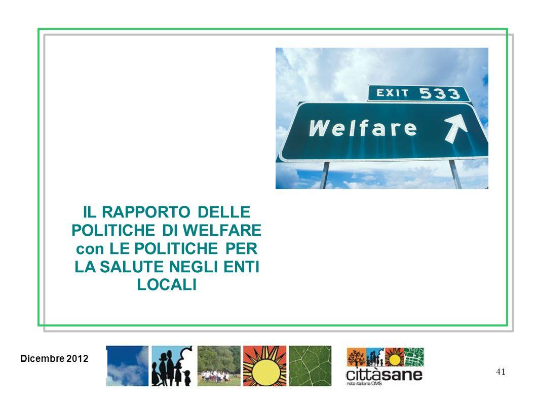 41 IL RAPPORTO DELLE POLITICHE DI WELFARE con LE POLITICHE PER LA SALUTE NEGLI ENTI LOCALI Gennaio 2012 Giugno 2012Dicembre 2012