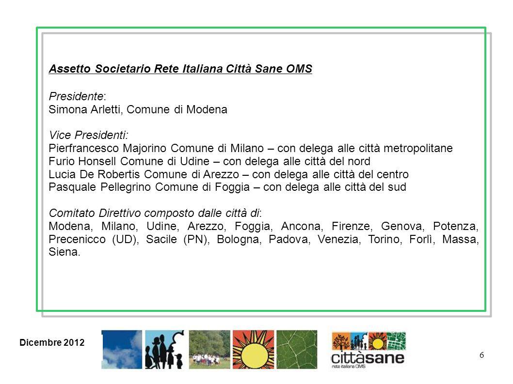 17 TEMI I filoni di lavoro della Rete Italiana Mobilità sostenibile Sana alimentazione Attività fisica Sani stili di vita Rapporto ambiente e salute ….