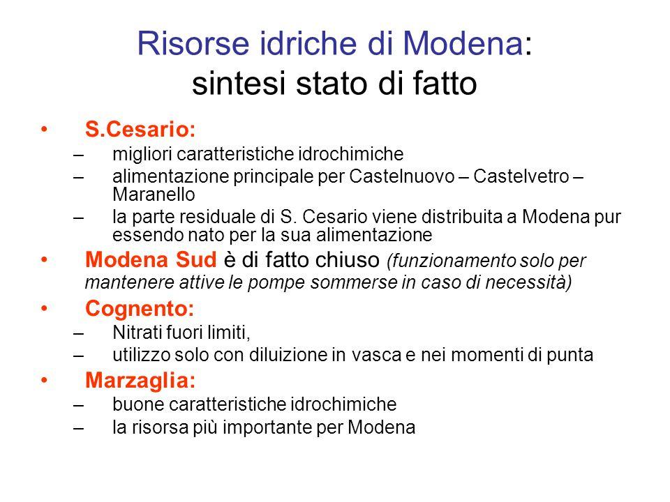S.Cesario: –migliori caratteristiche idrochimiche –alimentazione principale per Castelnuovo – Castelvetro – Maranello –la parte residuale di S.
