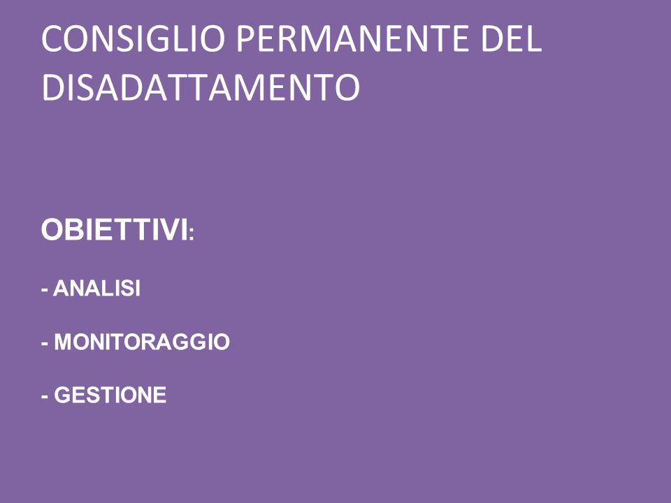 CONSIGLIO PERMANENTE DEL DISADATTAMENTO OBIETTIVI : - ANALISI - MONITORAGGIO - GESTIONE