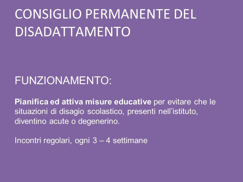 CONSIGLIO PERMANENTE DEL DISADATTAMENTO FUNZIONAMENTO: Pianifica ed attiva misure educative per evitare che le situazioni di disagio scolastico, prese