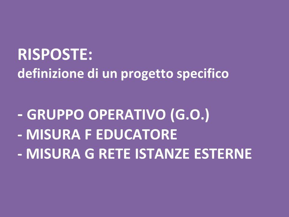 RISPOSTE: definizione di un progetto specifico - GRUPPO OPERATIVO (G.O.) - MISURA F EDUCATORE - MISURA G RETE ISTANZE ESTERNE