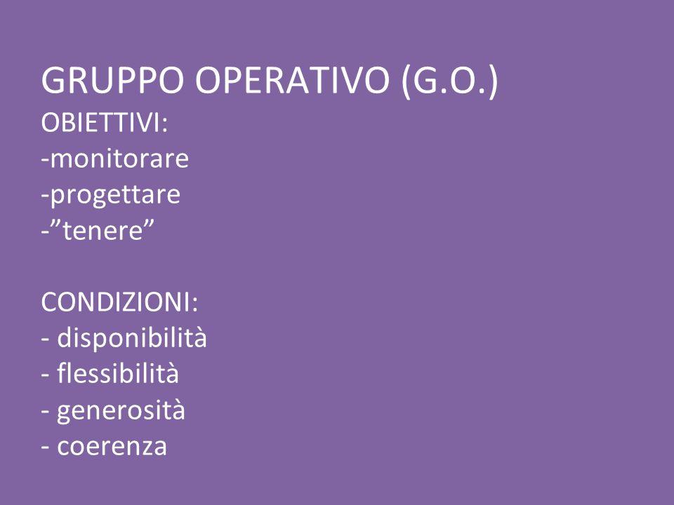 GRUPPO OPERATIVO (G.O.) OBIETTIVI: -monitorare -progettare -tenere CONDIZIONI: - disponibilità - flessibilità - generosità - coerenza