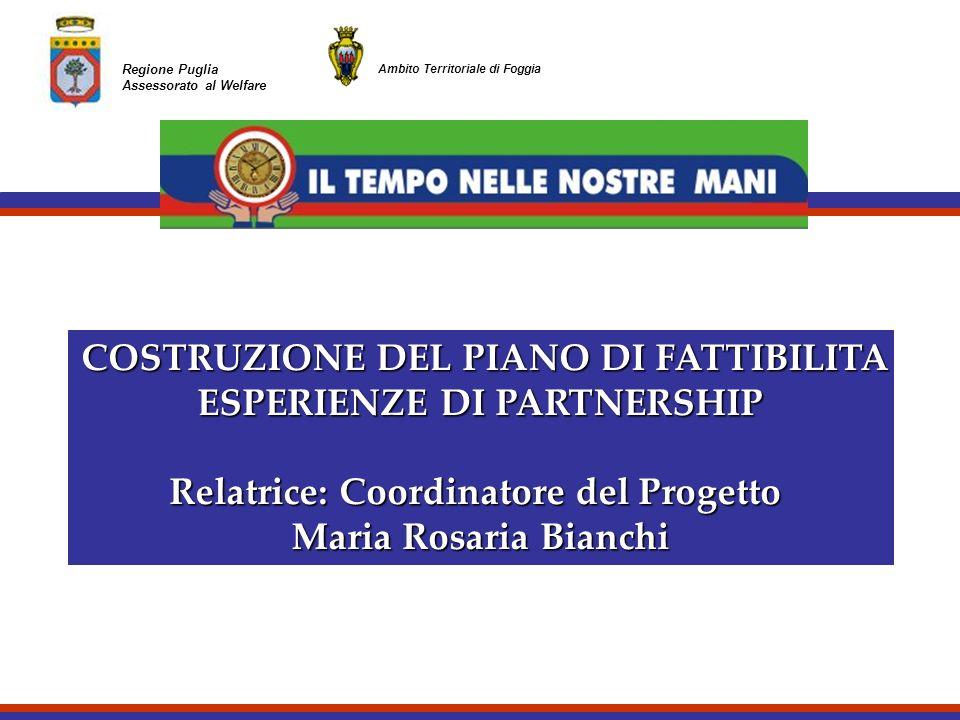 Regione Puglia Assessorato al Welfare Ambito Territoriale di Foggia COSTRUZIONE DEL PIANO DI FATTIBILITA COSTRUZIONE DEL PIANO DI FATTIBILITA ESPERIENZE DI PARTNERSHIP Relatrice: Coordinatore del Progetto Maria Rosaria Bianchi