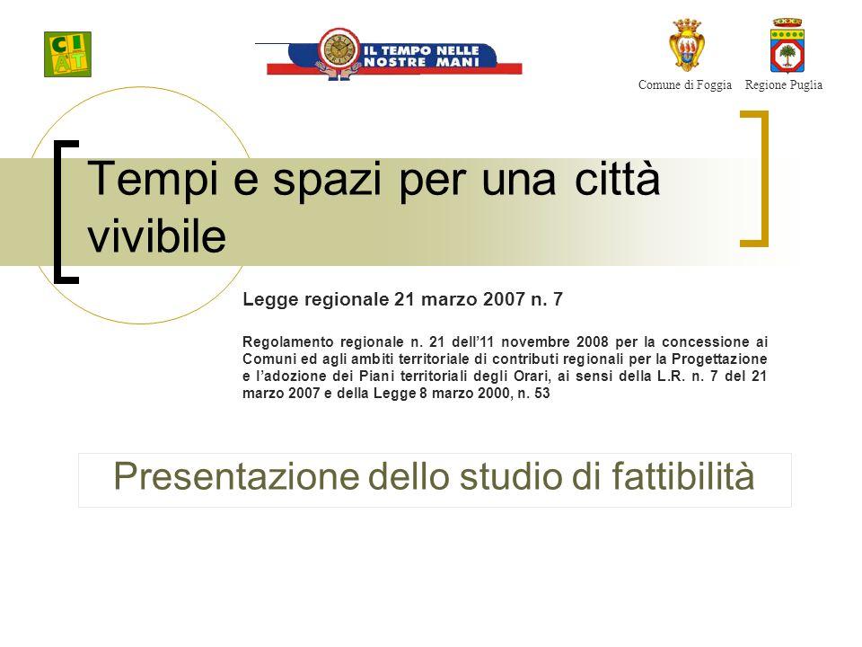 Tempi e spazi per una città vivibile Presentazione dello studio di fattibilità Comune di FoggiaRegione Puglia Legge regionale 21 marzo 2007 n.