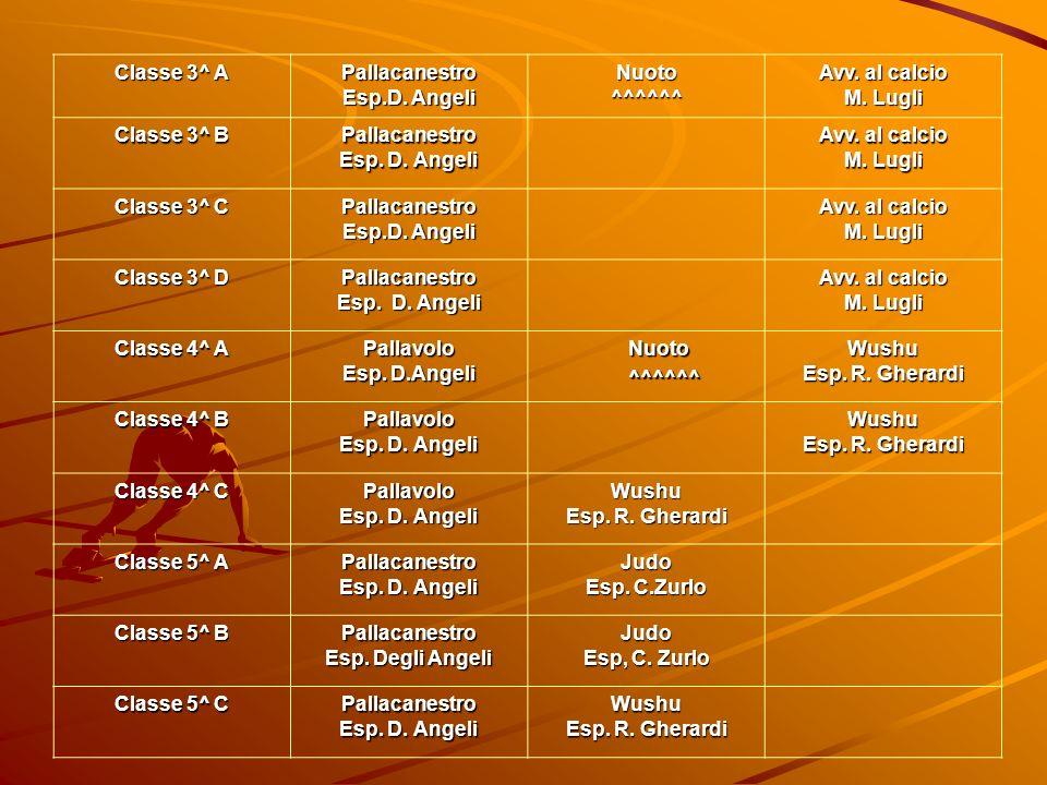 Classe 3^ A Pallacanestro Esp.D. Angeli Nuoto^^^^^^ Avv. al calcio M. Lugli Classe 3^ B Pallacanestro Esp. D. Angeli Avv. al calcio M. Lugli Classe 3^