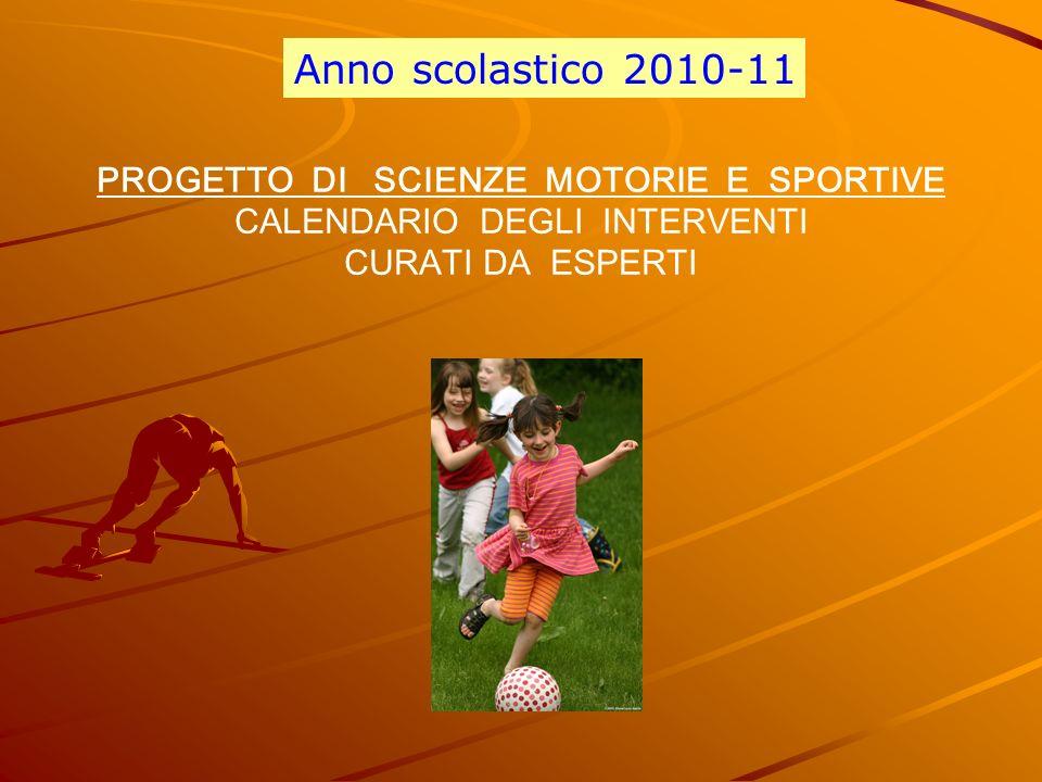 PROGETTO DI SCIENZE MOTORIE E SPORTIVE CALENDARIO DEGLI INTERVENTI CURATI DA ESPERTI Anno scolastico 2010-11