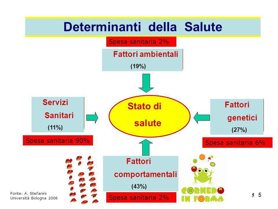5 5 5 Fattori ambientali (19%) Stato di salute Servizi Sanitari (11%) Fattori genetici (27%) Fattori comportamentali (43%) Determinanti della Salute S