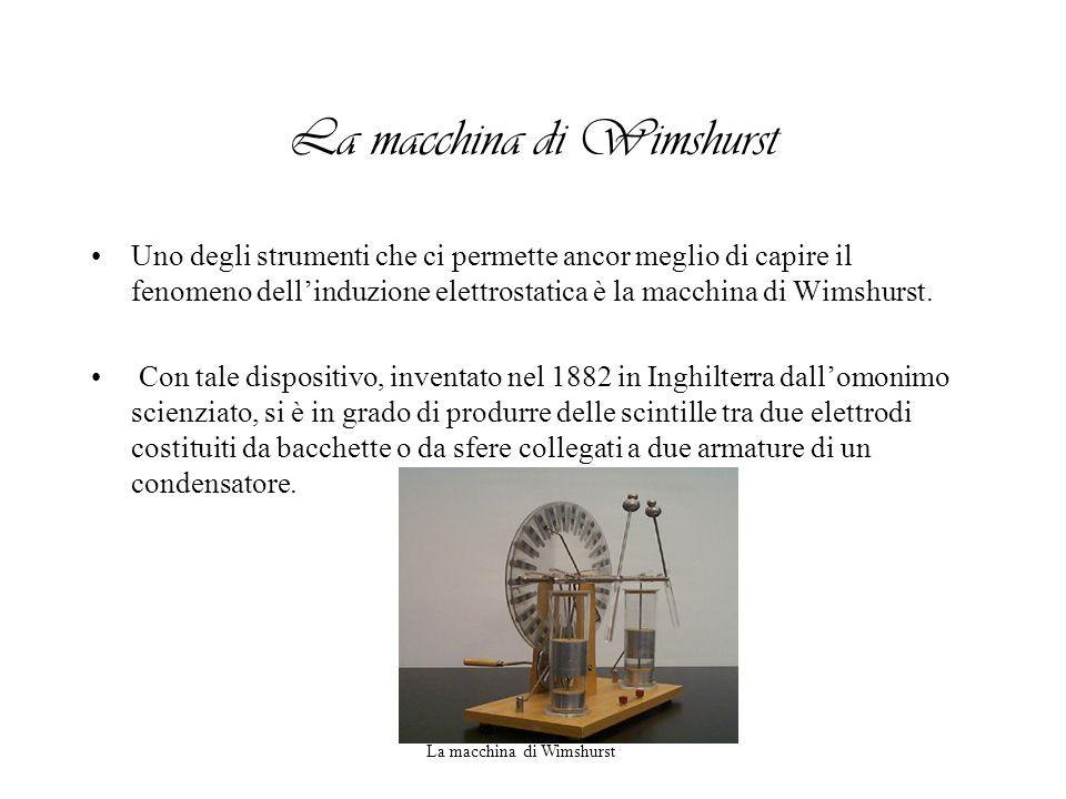 La macchina di Wimshurst Uno degli strumenti che ci permette ancor meglio di capire il fenomeno dellinduzione elettrostatica è la macchina di Wimshurs