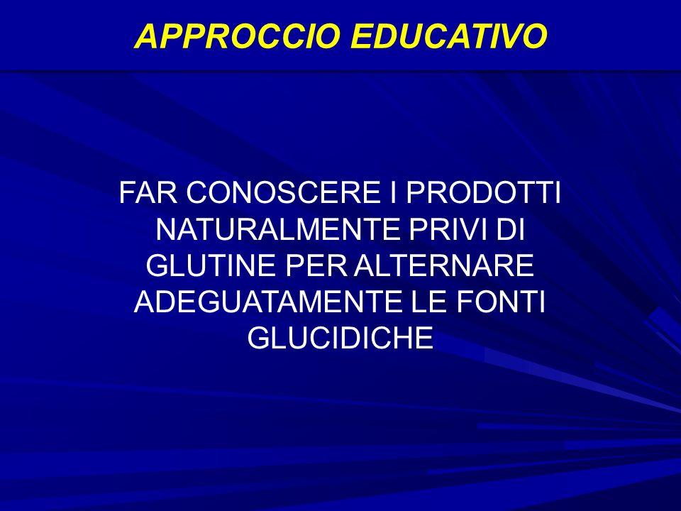 APPROCCIO EDUCATIVO FAR CONOSCERE I PRODOTTI NATURALMENTE PRIVI DI GLUTINE PER ALTERNARE ADEGUATAMENTE LE FONTI GLUCIDICHE