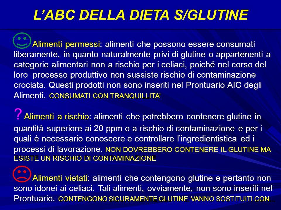LABC DELLA DIETA S/GLUTINE Alimenti permessi: alimenti che possono essere consumati liberamente, in quanto naturalmente privi di glutine o appartenenti a categorie alimentari non a rischio per i celiaci, poiché nel corso del loro processo produttivo non sussiste rischio di contaminazione crociata.
