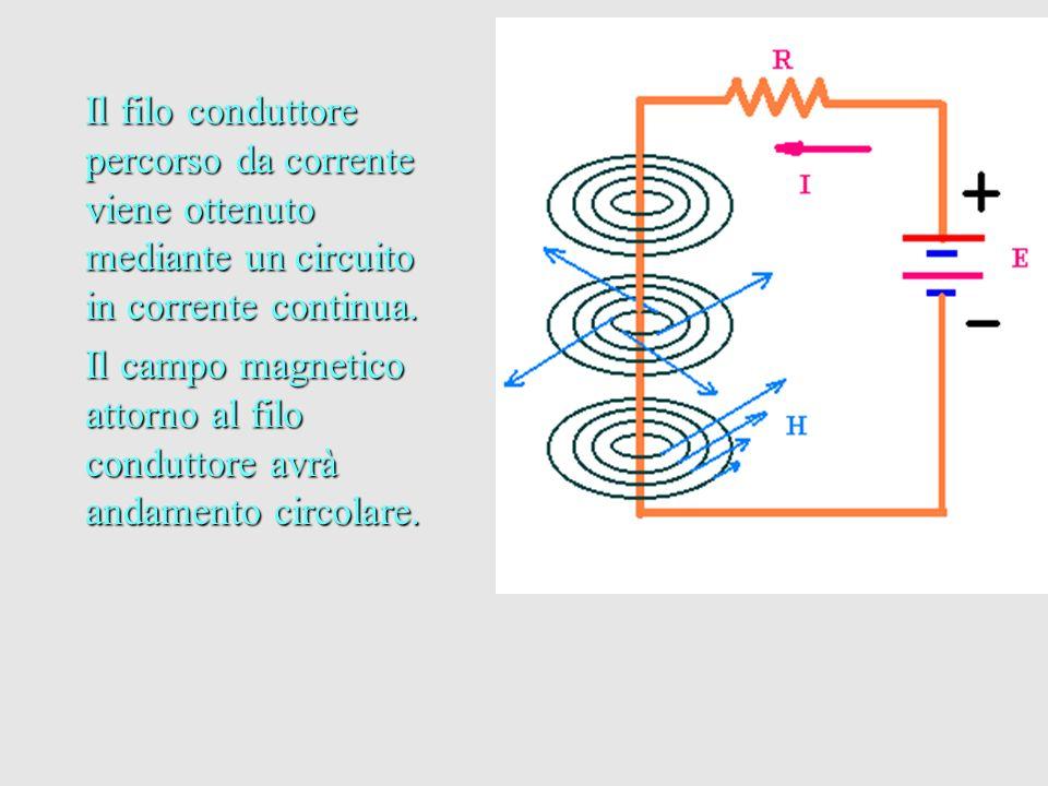 Il filo conduttore percorso da corrente viene ottenuto mediante un circuito in corrente continua. Il campo magnetico attorno al filo conduttore avrà a