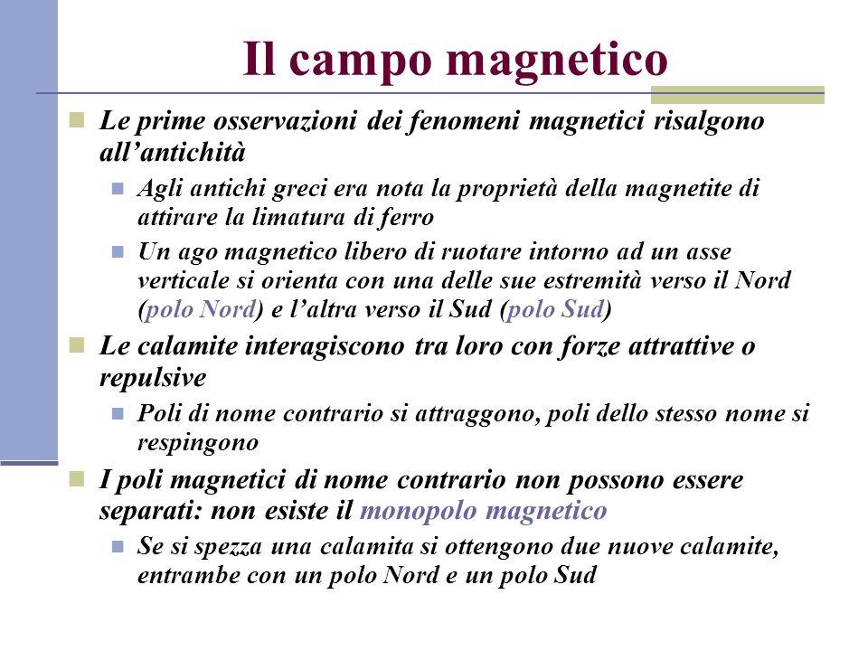 Il campo magnetico Le prime osservazioni dei fenomeni magnetici risalgono allantichità Agli antichi greci era nota la proprietà della magnetite di att