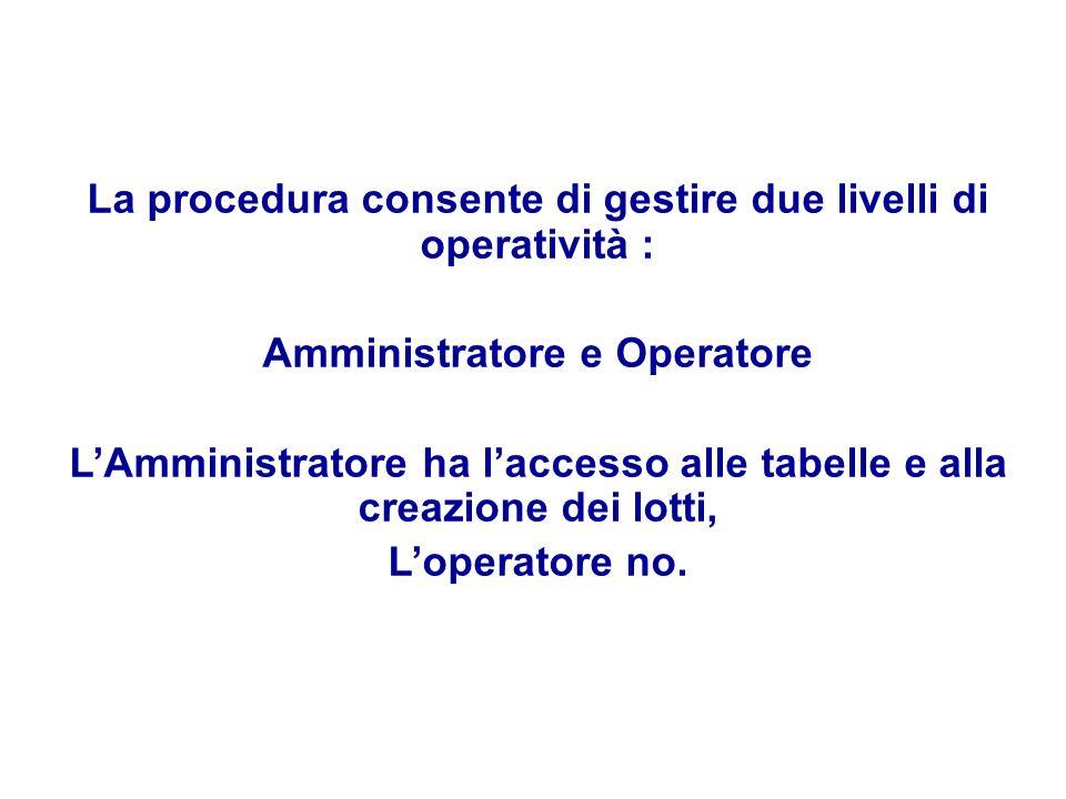 La procedura consente di gestire due livelli di operatività : Amministratore e Operatore LAmministratore ha laccesso alle tabelle e alla creazione dei lotti, Loperatore no.