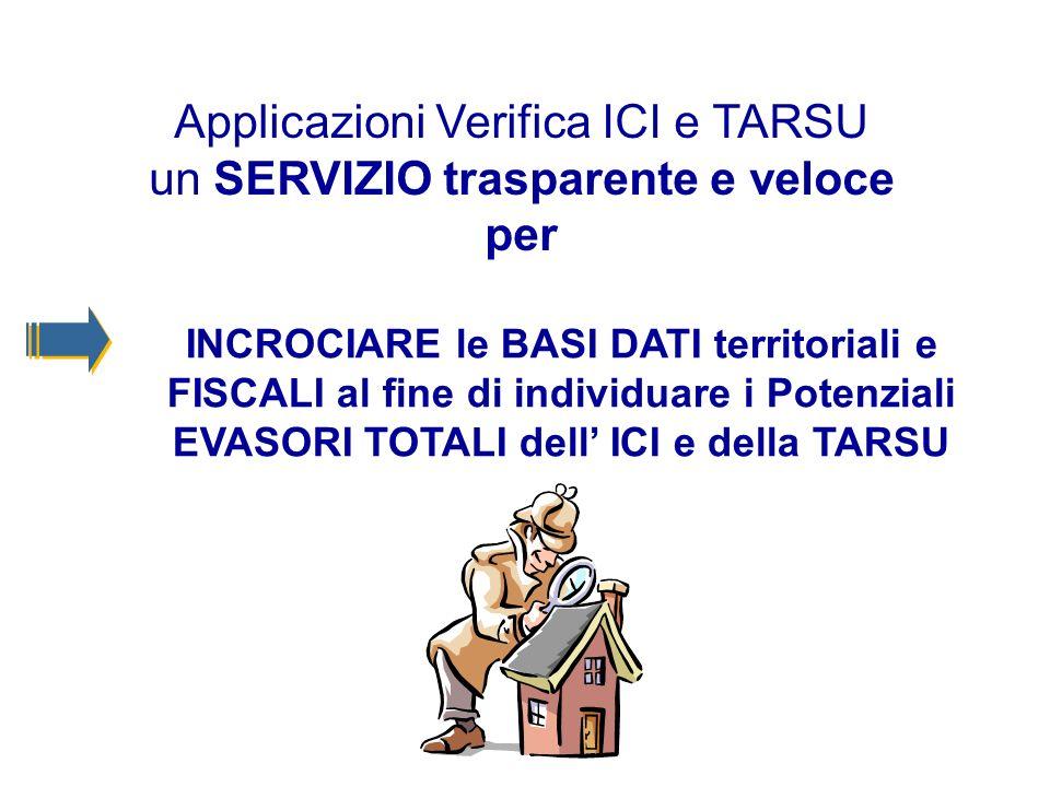 Applicazioni Verifica ICI e TARSU un SERVIZIO trasparente e veloce per INCROCIARE le BASI DATI territoriali e FISCALI al fine di individuare i Potenziali EVASORI TOTALI dell ICI e della TARSU