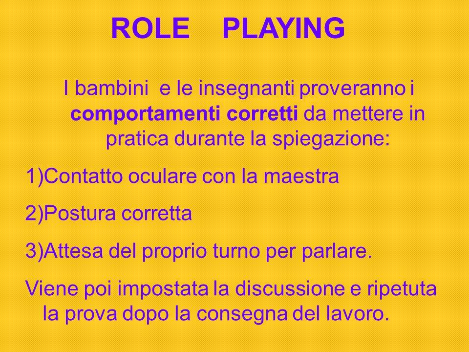 ROLE PLAYING I bambini e le insegnanti proveranno i comportamenti corretti da mettere in pratica durante la spiegazione: 1)Contatto oculare con la mae