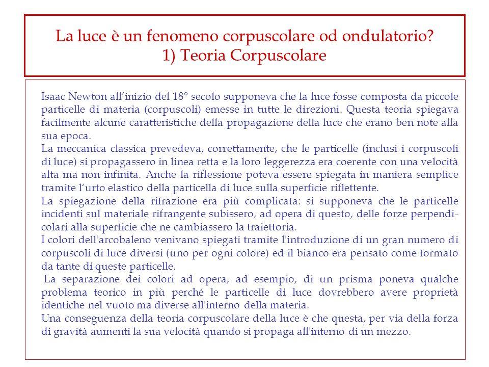 La luce è un fenomeno corpuscolare od ondulatorio? 1) Teoria Corpuscolare Isaac Newton allinizio del 18° secolo supponeva che la luce fosse composta d