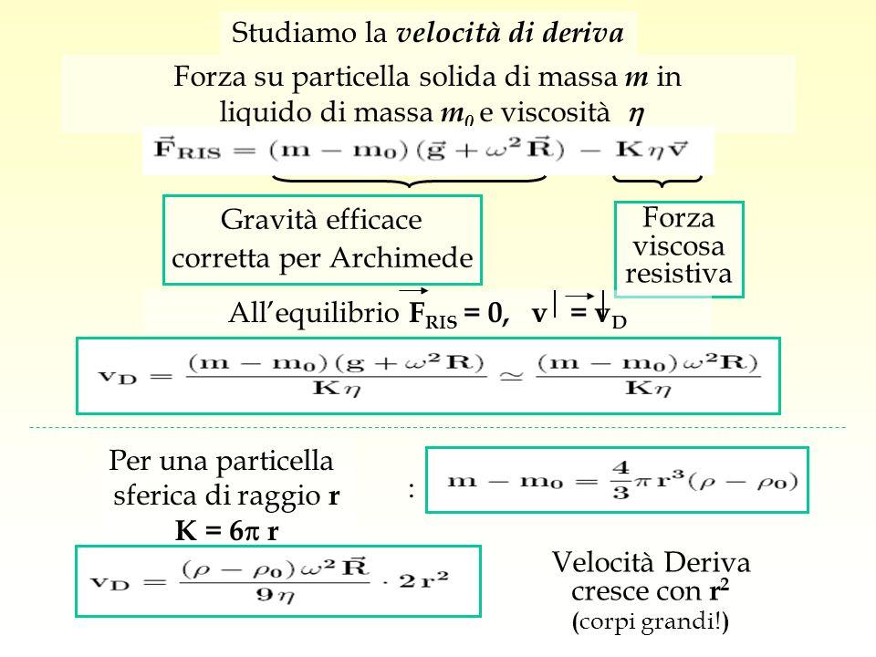 Studiamo la velocità di deriva Forza su particella solida di massa m in liquido di massa m 0 e viscosità Gravità efficace corretta per Archimede Forza