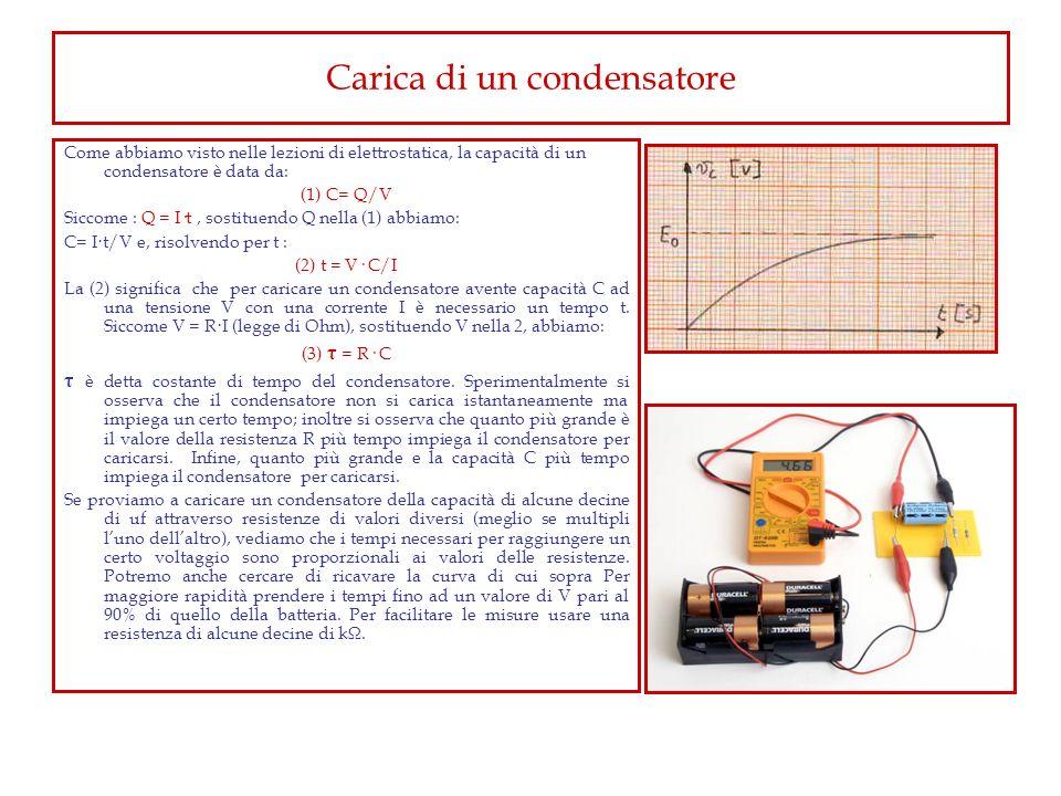 Carica di un condensatore Come abbiamo visto nelle lezioni di elettrostatica, la capacità di un condensatore è data da: (1) C= Q/V Siccome : Q = I·t,