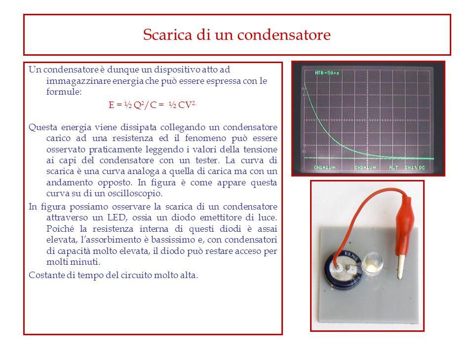 Scarica di un condensatore Un condensatore è dunque un dispositivo atto ad immagazzinare energia che può essere espressa con le formule: E = ½ Q 2 /C