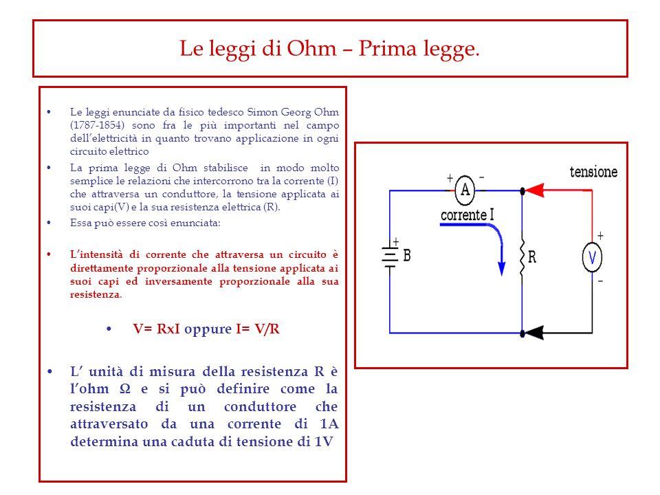 Le leggi di Ohm – Prima legge. Le leggi enunciate da fisico tedesco Simon Georg Ohm (1787-1854) sono fra le più importanti nel campo dellelettricità i