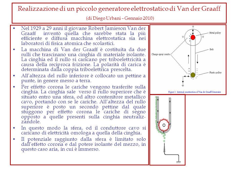 Realizzazione di un piccolo generatore elettrostatico di Van der Graaff (di Diego Urbani – Gennaio 2010) Nel 1929 a 29 anni il giovane Robert Jamieson