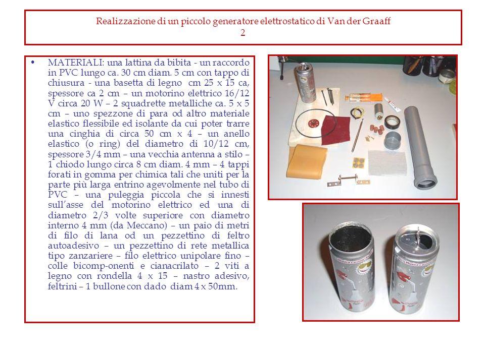 Realizzazione di un piccolo generatore elettrostatico di Van der Graaff 2 MATERIALI: una lattina da bibita - un raccordo in PVC lungo ca. 30 cm diam.