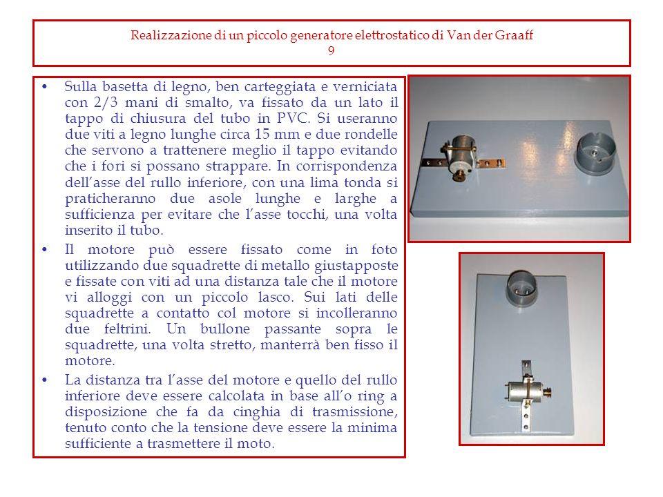 Realizzazione di un piccolo generatore elettrostatico di Van der Graaff 9 Sulla basetta di legno, ben carteggiata e verniciata con 2/3 mani di smalto,