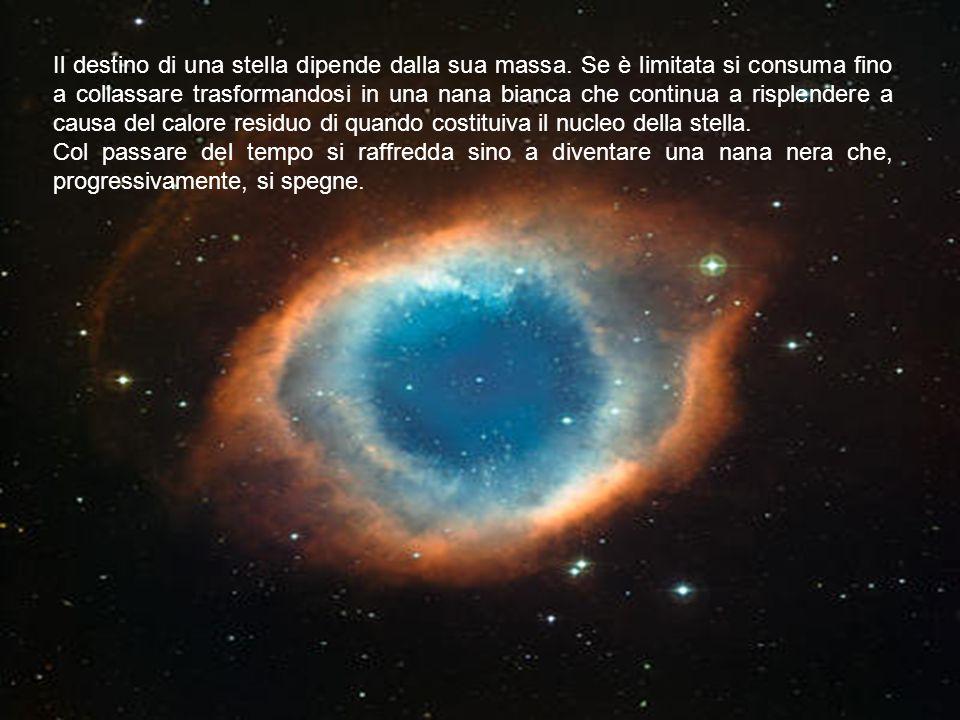 Il destino di una stella dipende dalla sua massa. Se è limitata si consuma fino a collassare trasformandosi in una nana bianca che continua a risplend