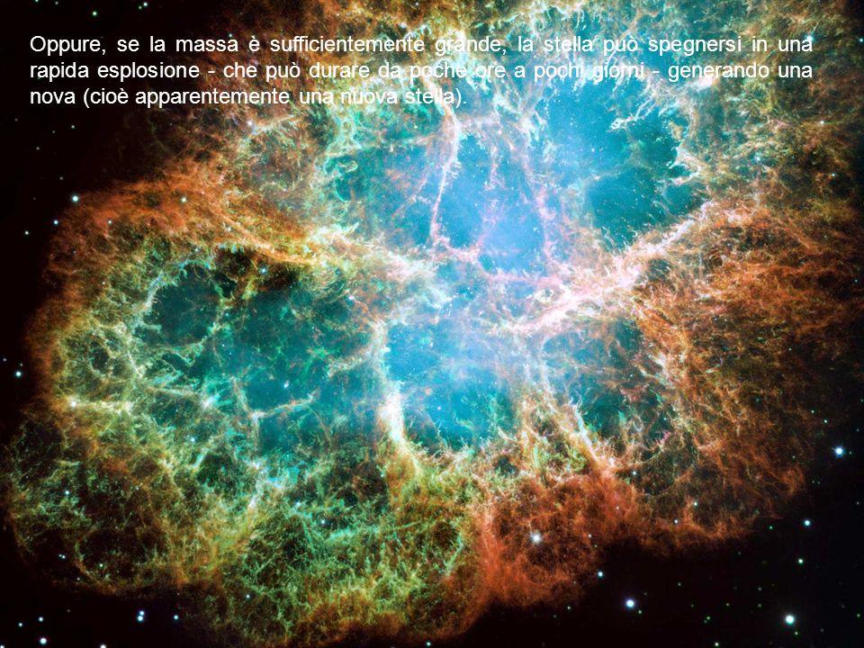 Oppure, se la massa è sufficientemente grande, la stella può spegnersi in una rapida esplosione - che può durare da poche ore a pochi giorni - generan