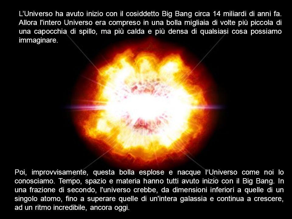 Poi, improvvisamente, questa bolla esplose e nacque lUniverso come noi lo conosciamo. Tempo, spazio e materia hanno tutti avuto inizio con il Big Bang