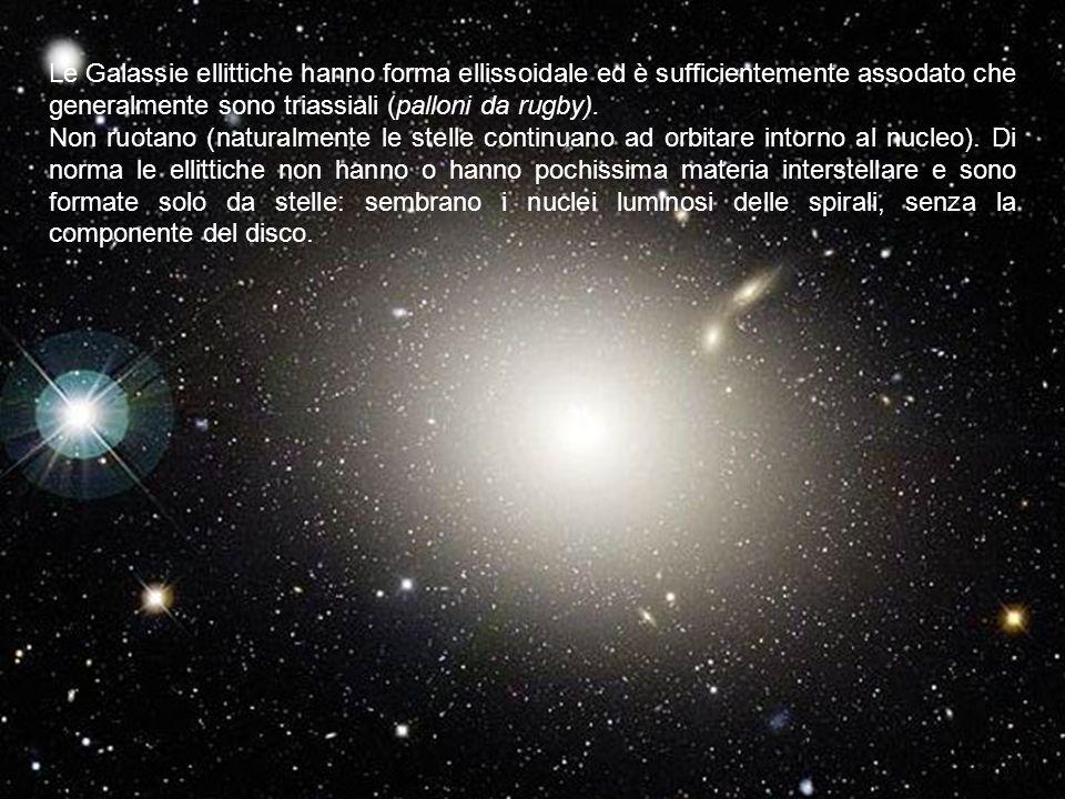 Le Galassie ellittiche hanno forma ellissoidale ed è sufficientemente assodato che generalmente sono triassiali (palloni da rugby). Non ruotano (natur