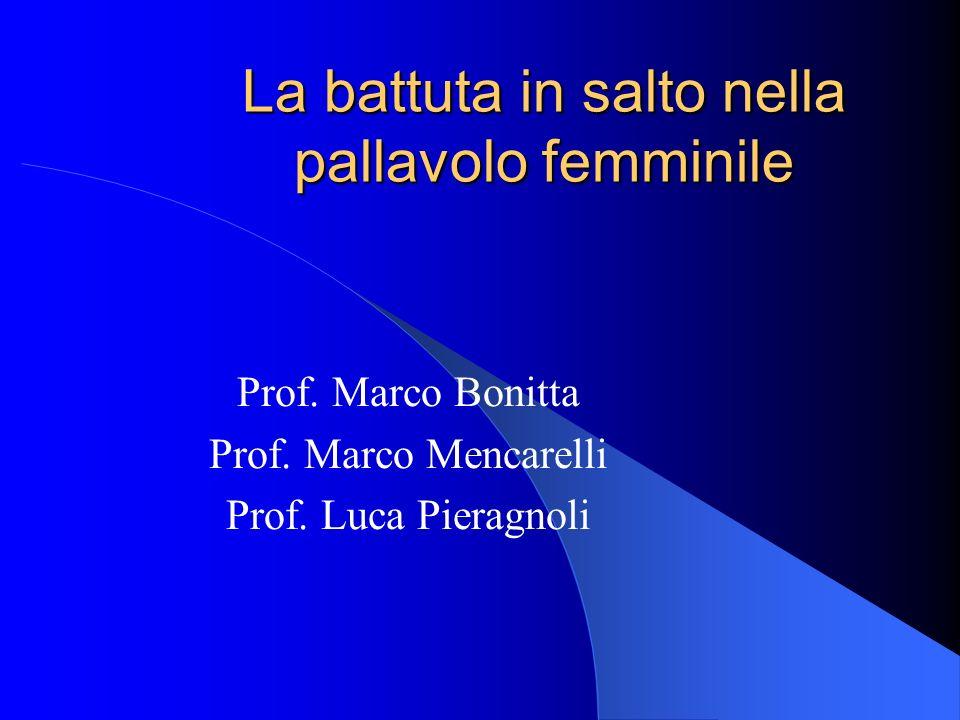 La battuta in salto nella pallavolo femminile Prof. Marco Bonitta Prof. Marco Mencarelli Prof. Luca Pieragnoli