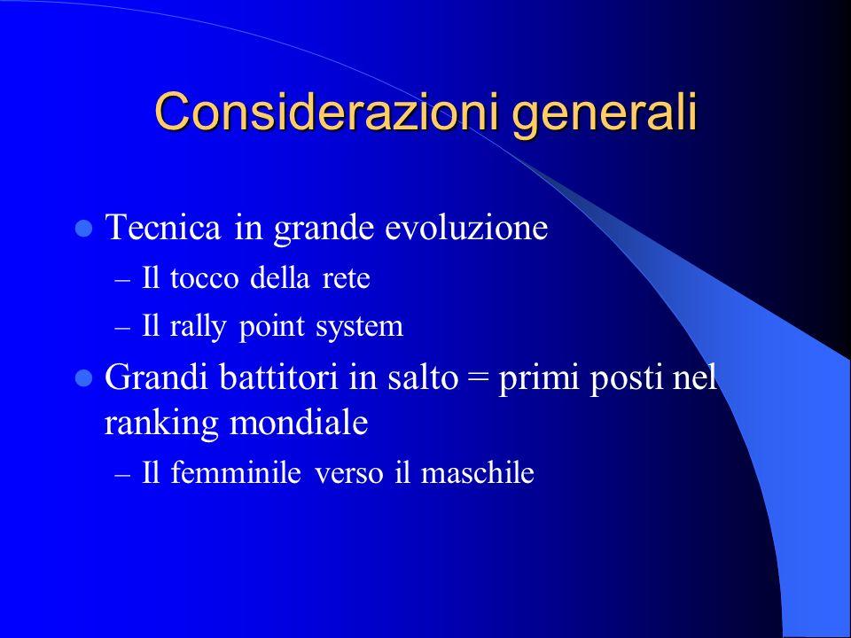 Considerazioni generali Tecnica in grande evoluzione – Il tocco della rete – Il rally point system Grandi battitori in salto = primi posti nel ranking