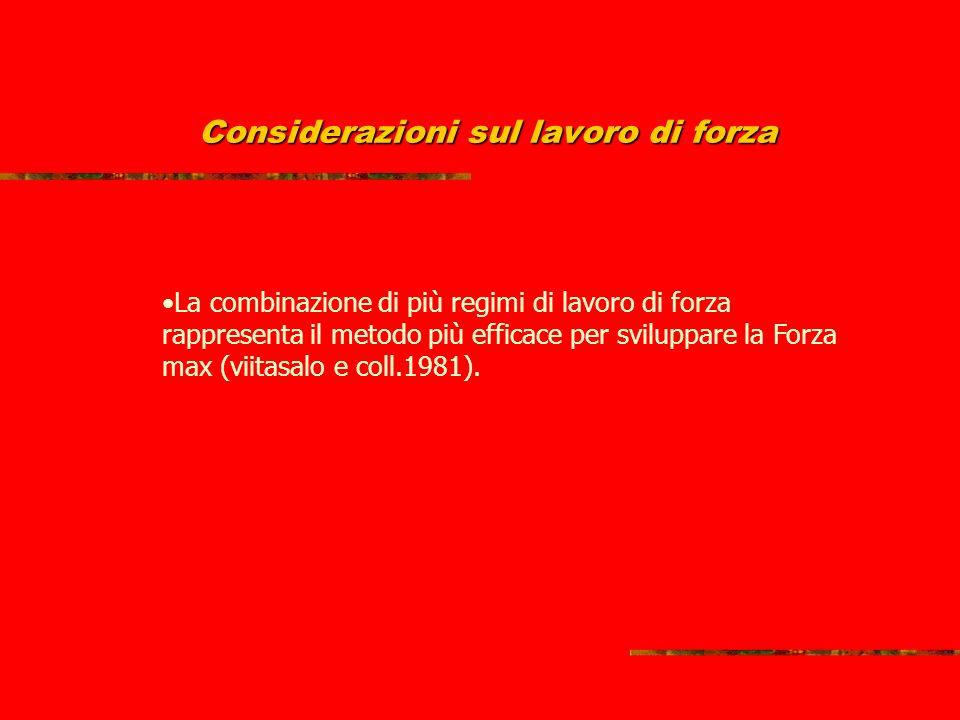 Considerazioni sul lavoro di forza La combinazione di più regimi di lavoro di forza rappresenta il metodo più efficace per sviluppare la Forza max (viitasalo e coll.1981).