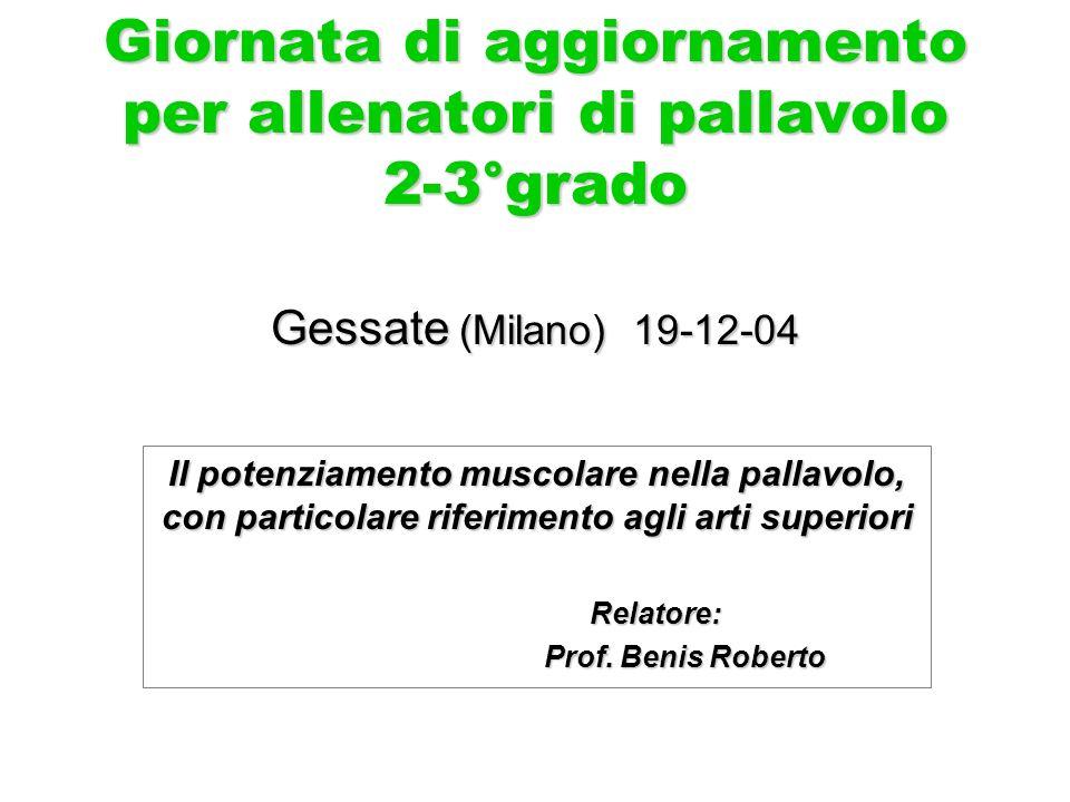 Giornata di aggiornamento per allenatori di pallavolo 2-3°grado Gessate (Milano) 19-12-04 Il potenziamento muscolare nella pallavolo, con particolare riferimento agli arti superiori Relatore: Relatore: Prof.