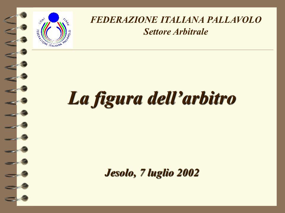 La figura dellarbitro Jesolo, 7 luglio 2002 FEDERAZIONE ITALIANA PALLAVOLO Settore Arbitrale