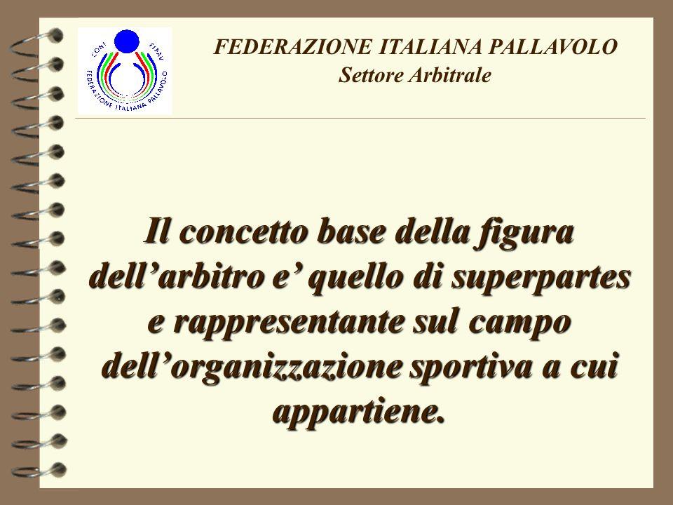 FEDERAZIONE ITALIANA PALLAVOLO Settore Arbitrale Il concetto base della figura dellarbitro e quello di superpartes e rappresentante sul campo dellorganizzazione sportiva a cui appartiene.