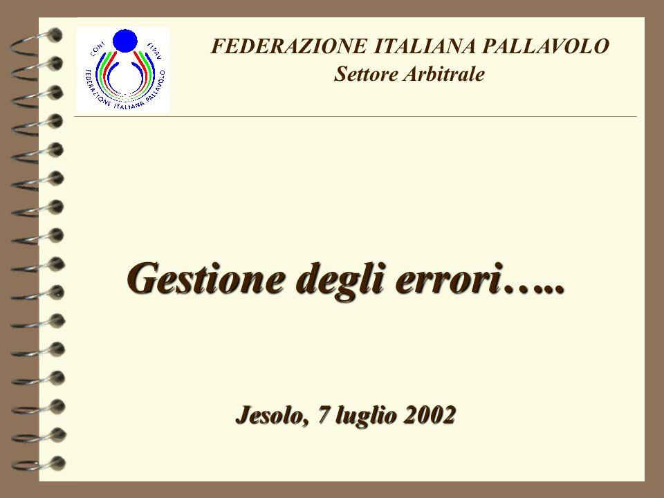 FEDERAZIONE ITALIANA PALLAVOLO Settore Arbitrale Gestione degli errori….. Jesolo, 7 luglio 2002