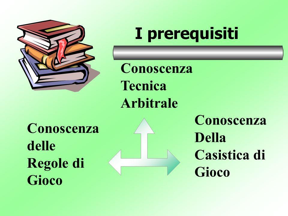 Conoscenza Tecnica Arbitrale I prerequisiti Conoscenza delle Regole di Gioco Conoscenza Della Casistica di Gioco