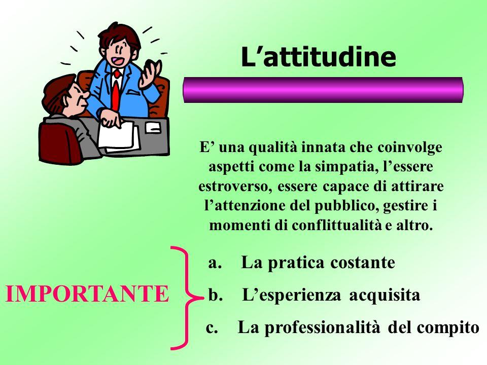 Lattitudine E una qualità innata che coinvolge aspetti come la simpatia, lessere estroverso, essere capace di attirare lattenzione del pubblico, gesti