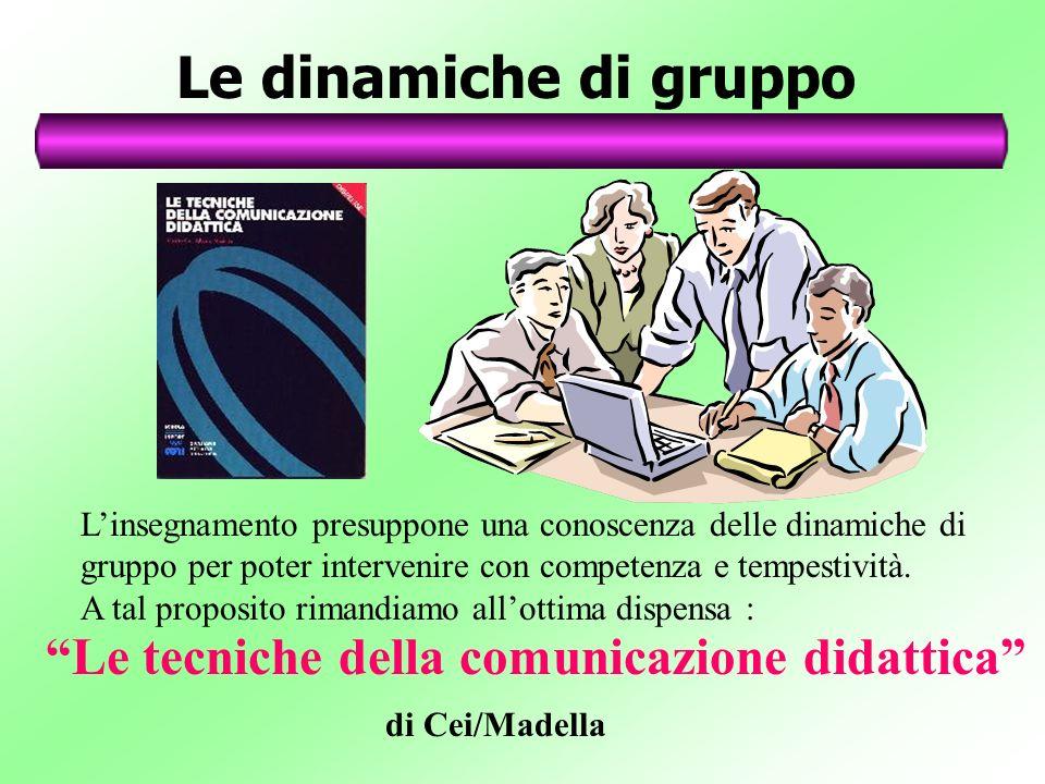 Le dinamiche di gruppo Linsegnamento presuppone una conoscenza delle dinamiche di gruppo per poter intervenire con competenza e tempestività. A tal pr