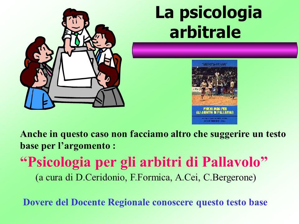 La psicologia arbitrale Anche in questo caso non facciamo altro che suggerire un testo base per largomento : Psicologia per gli arbitri di Pallavolo (