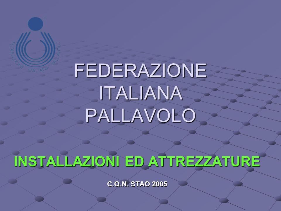 FEDERAZIONE ITALIANA PALLAVOLO INSTALLAZIONI ED ATTREZZATURE C.Q.N. STAO 2005