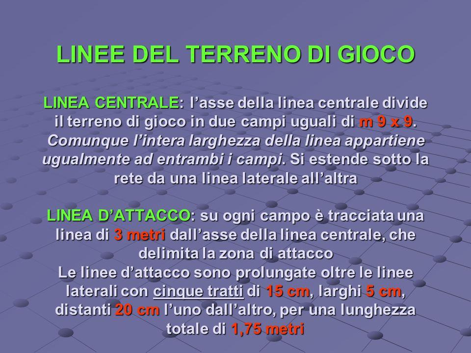 LINEE DEL TERRENO DI GIOCO LINEA CENTRALE: lasse della linea centrale divide il terreno di gioco in due campi uguali di m 9 x 9.