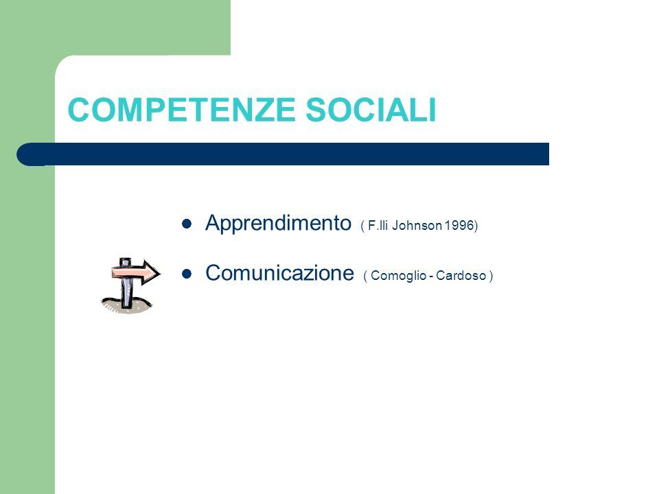 COMPETENZE SOCIALI Apprendimento ( F.lli Johnson 1996) Comunicazione ( Comoglio - Cardoso )