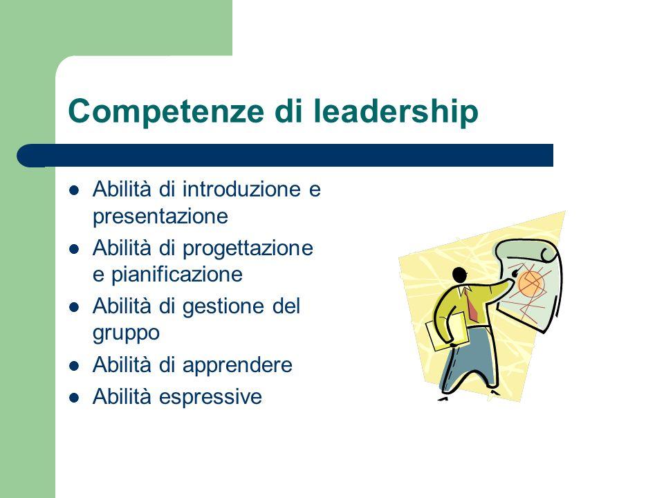 Competenze di leadership Abilità di introduzione e presentazione Abilità di progettazione e pianificazione Abilità di gestione del gruppo Abilità di apprendere Abilità espressive