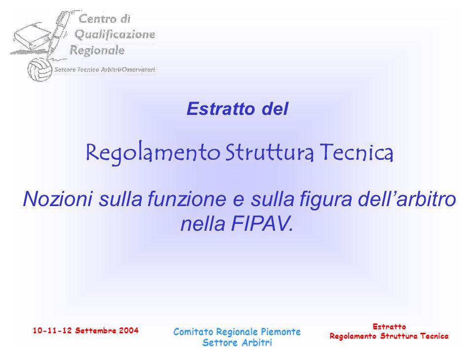 Estratto Regolamento Struttura Tecnica 10-11-12 Settembre 2004 Comitato Regionale Piemonte Settore Arbitri Estratto del Regolamento Struttura Tecnica Nozioni sulla funzione e sulla figura dellarbitro nella FIPAV.